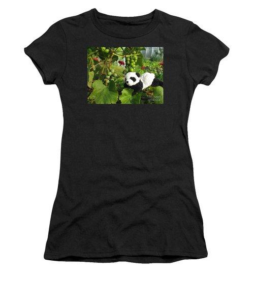Women's T-Shirt (Junior Cut) featuring the photograph I Love Grapes Says The Panda by Ausra Huntington nee Paulauskaite