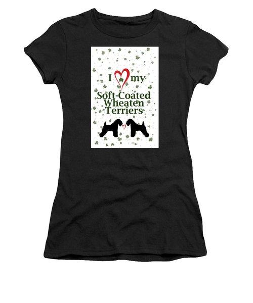 I Love My Soft Coated Wheaten Terriers Women's T-Shirt (Junior Cut) by Rebecca Cozart