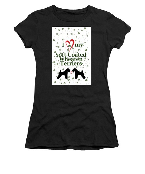 Women's T-Shirt (Athletic Fit) featuring the digital art I Love My Soft Coated Wheaten Terriers by Rebecca Cozart