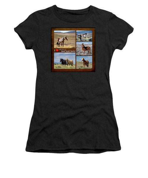 I Love Wild Horses Of Sand Wash Basin Women's T-Shirt (Athletic Fit)