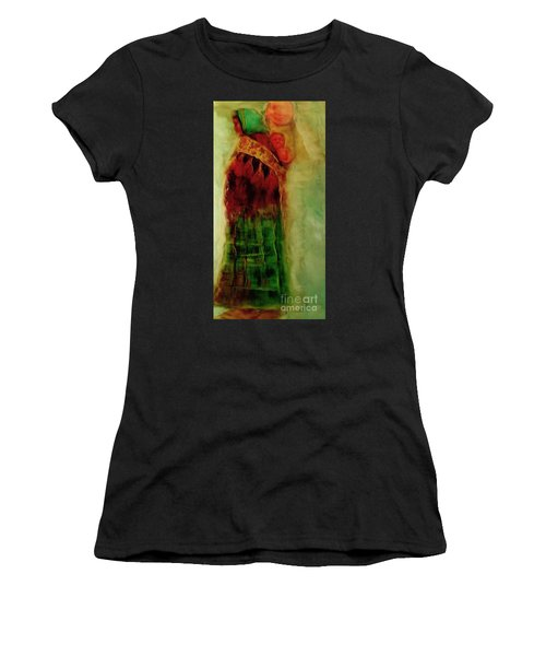 Women's T-Shirt (Junior Cut) featuring the painting I Walk by FeatherStone Studio Julie A Miller