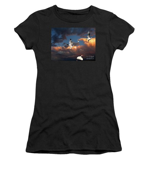 Women's T-Shirt (Junior Cut) featuring the photograph Ibis In Flight by Irma BACKELANT GALLERIES