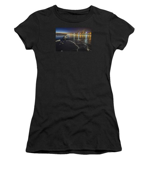 Ice And Chicago Skyline At Dawn  Women's T-Shirt