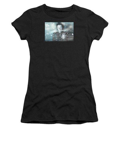 Ice Cold Winter Man In A Freeze Of Snow And Frost  Women's T-Shirt