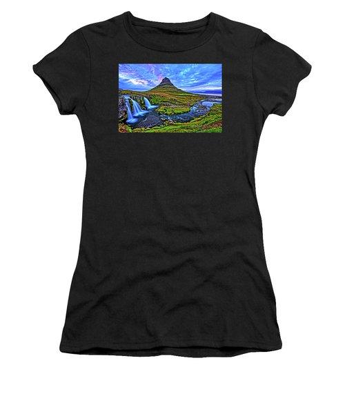 Women's T-Shirt (Junior Cut) featuring the photograph Ice Falls by Scott Mahon