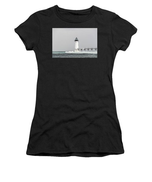 Ice On The Pier At Manistee Light Women's T-Shirt