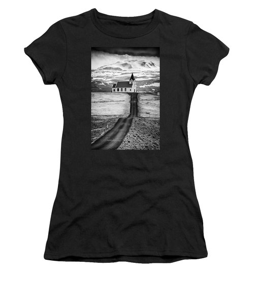 Iceland Ingjaldsholl Church And Mountains Black And White Women's T-Shirt