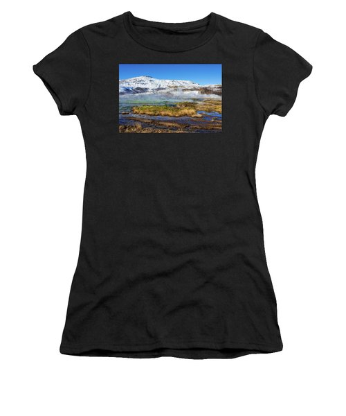Women's T-Shirt (Junior Cut) featuring the photograph Iceland Landscape Geothermal Area Haukadalur by Matthias Hauser