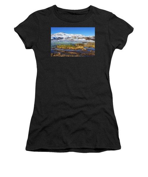 Iceland Landscape Geothermal Area Haukadalur Women's T-Shirt (Junior Cut) by Matthias Hauser