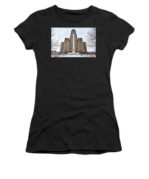 Iconic Buffalo City Hall In Winter Women's T-Shirt