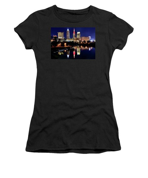 Iconic Night View Of Cleveland Women's T-Shirt (Athletic Fit)