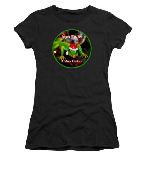 Iguana Wish You A Merry Christmas Women's T-Shirt (Athletic Fit)