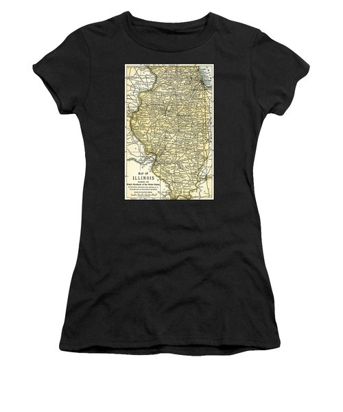 Illinois Antique Map 1891 Women's T-Shirt