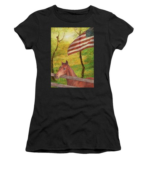 Illustrated Horse In Golden Meadow Women's T-Shirt (Athletic Fit)