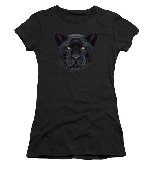 Illustrated Portrait Of Black Panther.  Women's T-Shirt (Junior Cut) by Altay Savrukov