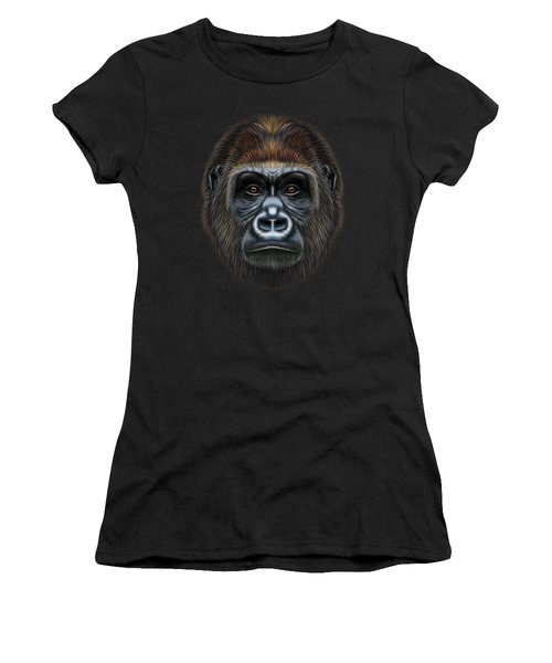 Illustrated Portrait Of Gorilla Male. Women's T-Shirt (Athletic Fit)