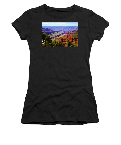 Women's T-Shirt featuring the digital art Impressions Of The North Rim by Shelli Fitzpatrick
