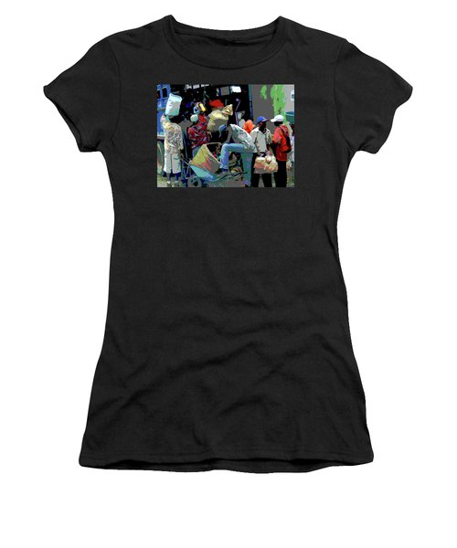 In The Market Place Women's T-Shirt (Junior Cut) by B Wayne Mullins