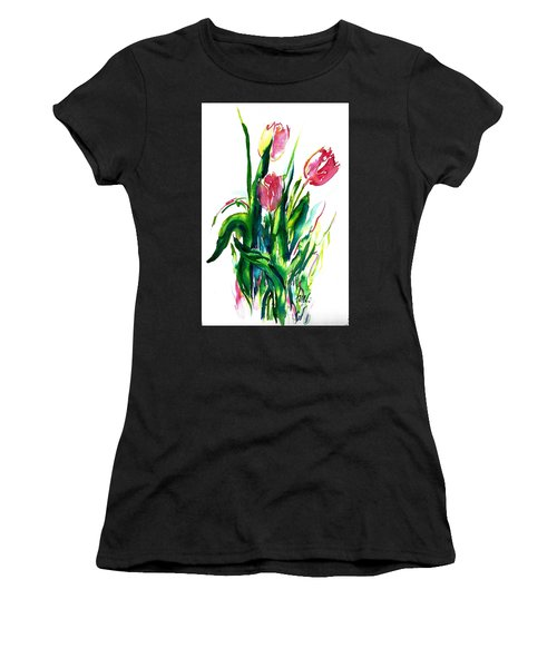 In The Pink Tulips Women's T-Shirt (Athletic Fit)