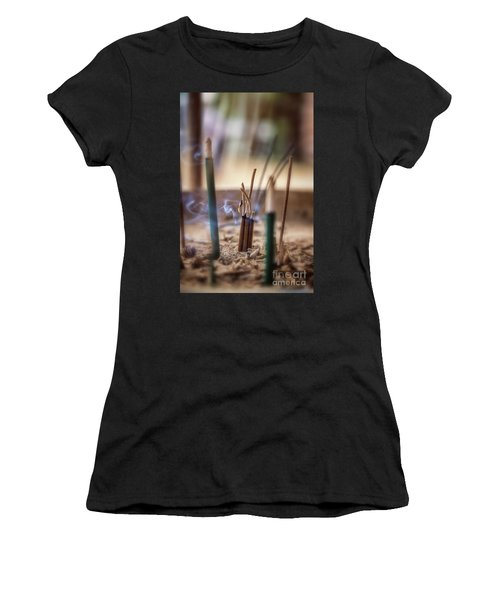 Incense Burning Women's T-Shirt (Athletic Fit)