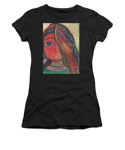 Indian Girl With Nose Ring Women's T-Shirt (Athletic Fit)