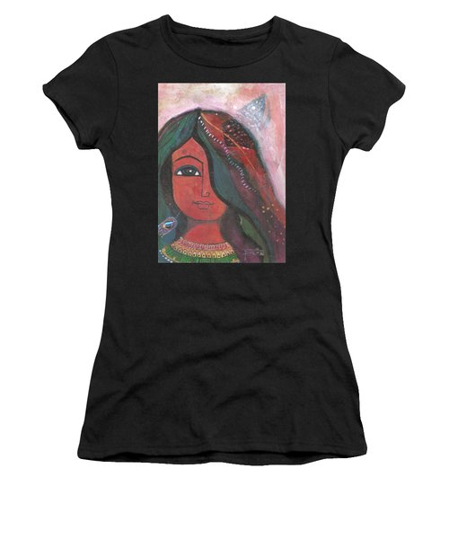 Women's T-Shirt (Athletic Fit) featuring the mixed media Indian Rajasthani Woman by Prerna Poojara