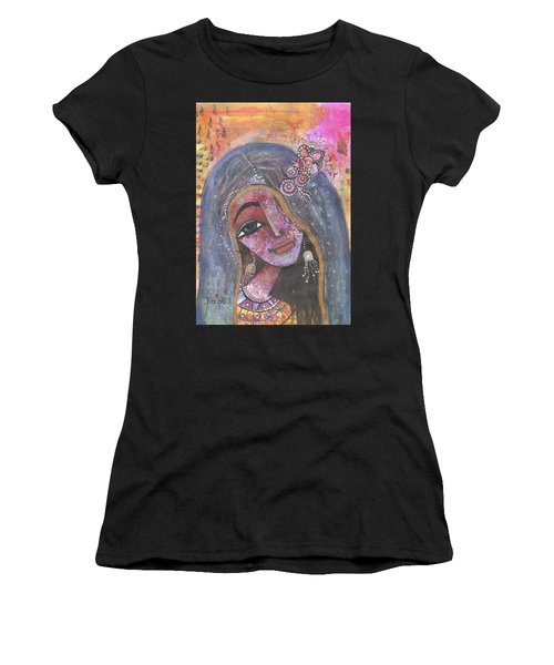 Indian Rajasthani Woman With Colorful Background  Women's T-Shirt