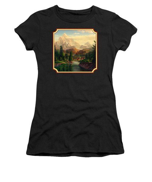 Indian Village Trapper Western Mountain Landscape Oil Painting - Native Americans -square Format Women's T-Shirt