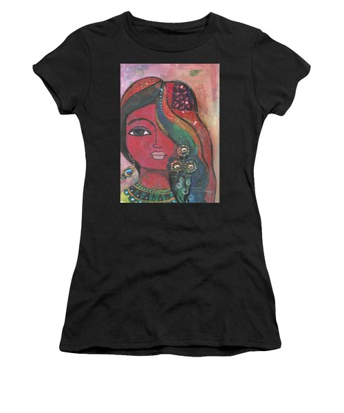 Indian Woman With Flowers  Women's T-Shirt