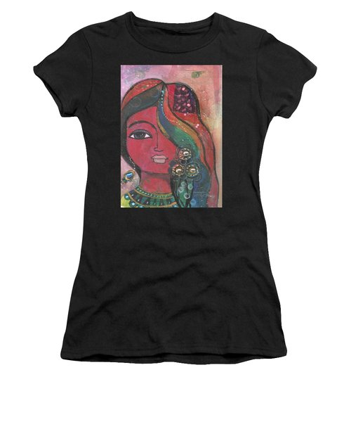 Women's T-Shirt (Athletic Fit) featuring the mixed media Indian Woman With Flowers  by Prerna Poojara