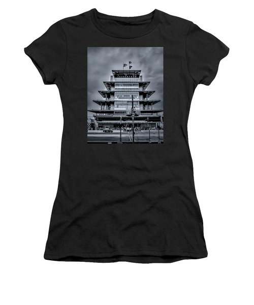 Indy 500 Pagoda - Black And White Women's T-Shirt (Athletic Fit)