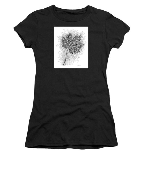 Ink Drawing Of Maple Leaf Women's T-Shirt