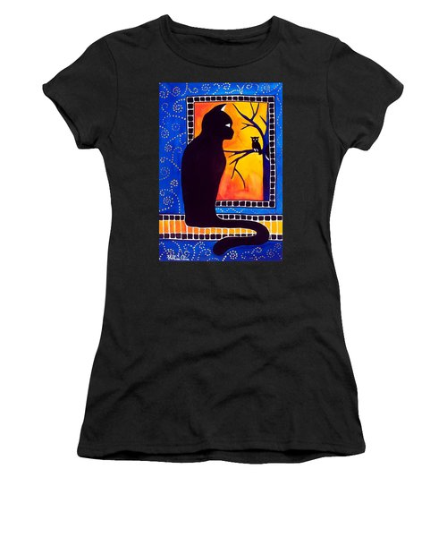 Insomnia - Cat And Owl Art By Dora Hathazi Mendes Women's T-Shirt (Athletic Fit)