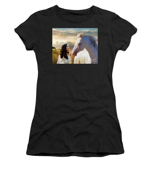 Women's T-Shirt (Athletic Fit) featuring the digital art Into The Wind by Melinda Hughes-Berland