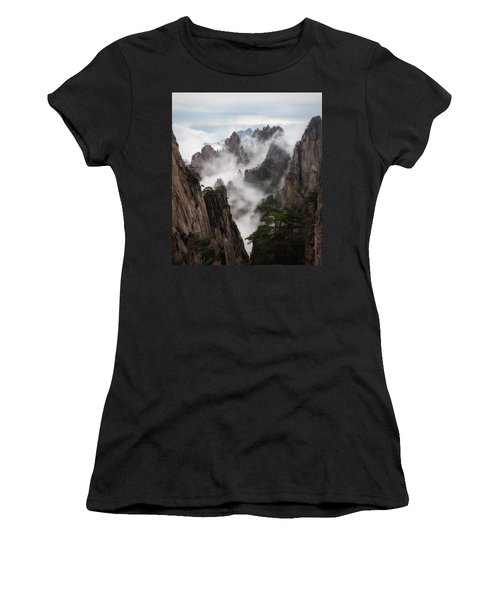 Invisible Hands Painting The Mountains. Women's T-Shirt