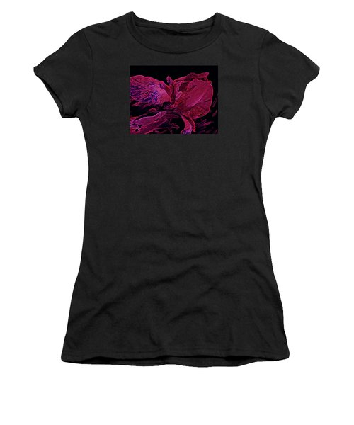 Iris Deep Red Glow Women's T-Shirt (Junior Cut) by Lynda Lehmann