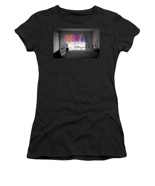 Women's T-Shirt featuring the photograph Ironing Adds Color To A Room by Wayne King