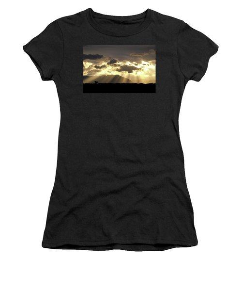 Women's T-Shirt (Junior Cut) featuring the photograph Israeli Desert Sunrise At Timna by Yoel Koskas