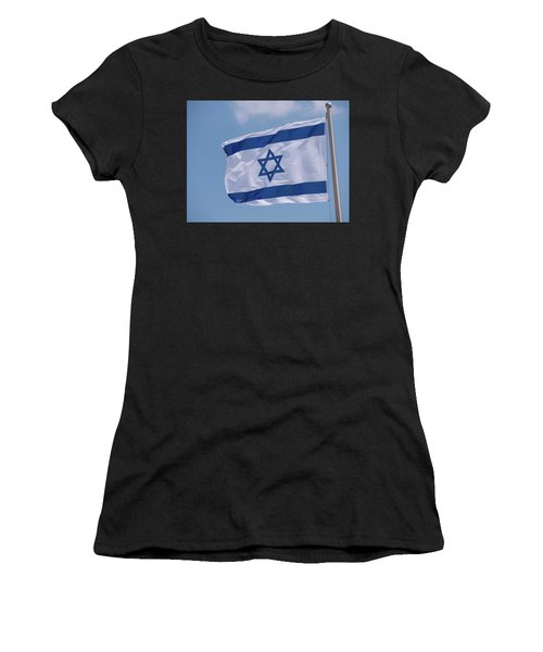 Israeli Flag In The Wind Women's T-Shirt (Athletic Fit)