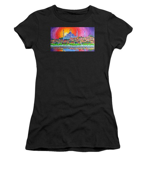 Istanbul Blue Mosque Sunset Modern Impressionist Palette Knife Oil Painting By Ana Maria Edulescu    Women's T-Shirt