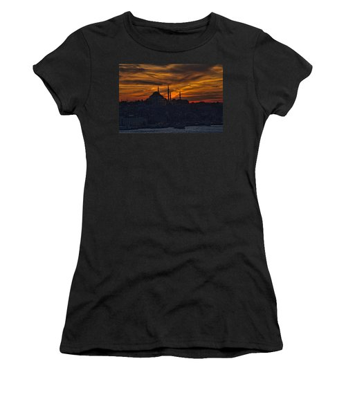 Istanbul Sunset - A Call To Prayer Women's T-Shirt (Junior Cut) by David Smith