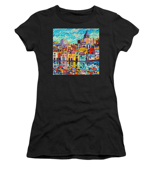 Italy Procida Island Marina Corricella Naples Bay Palette Knife Oil Painting By Ana Maria Edulescu Women's T-Shirt (Athletic Fit)