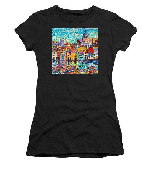 Italy Procida Island Marina Corricella Naples Bay Palette Knife Oil Painting By Ana Maria Edulescu Women's T-Shirt