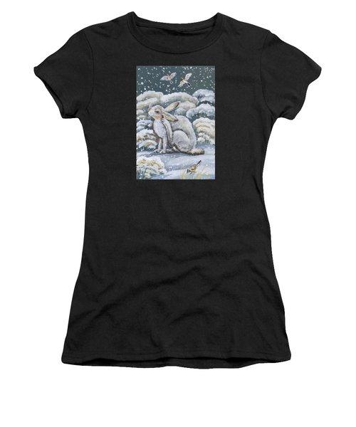 Jackrabbit And Horned Larks Women's T-Shirt (Athletic Fit)