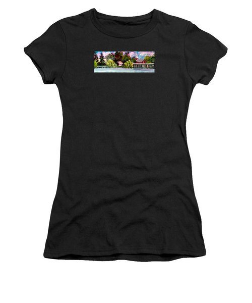 Women's T-Shirt (Junior Cut) featuring the painting Jacksonville Nc Waterfront by Jim Phillips