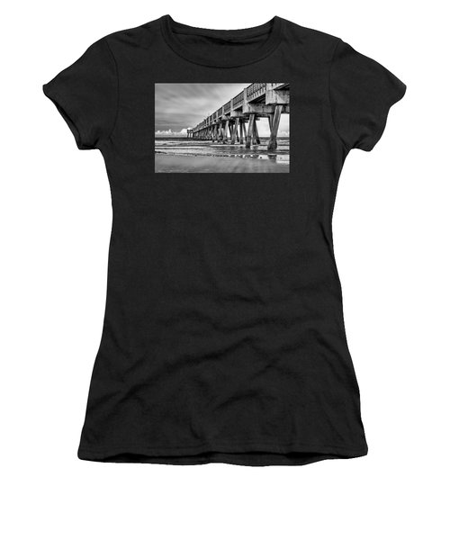 Jacksonville Beach Pier In Black And White Women's T-Shirt