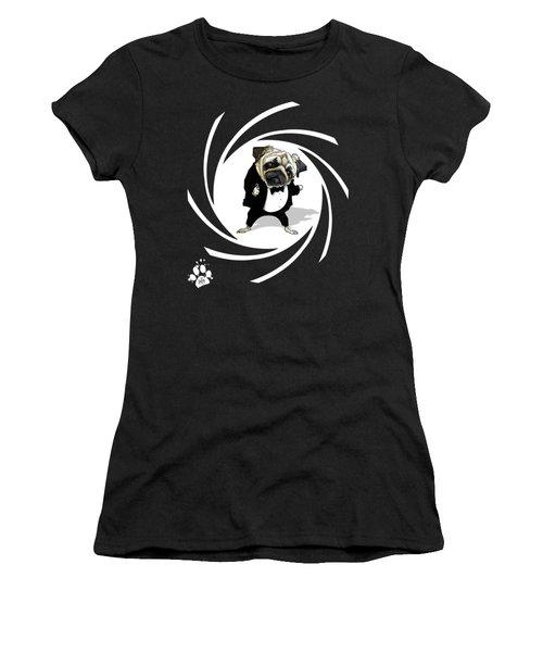 James Bond Pug Caricature Art Print Women's T-Shirt