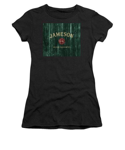 Women's T-Shirt featuring the mixed media Jameson Irish Whiskey Barn Door by Dan Sproul