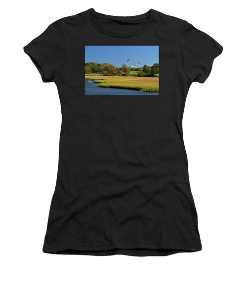 Jamestown Marsh With Pell Bridge Women's T-Shirt (Athletic Fit)