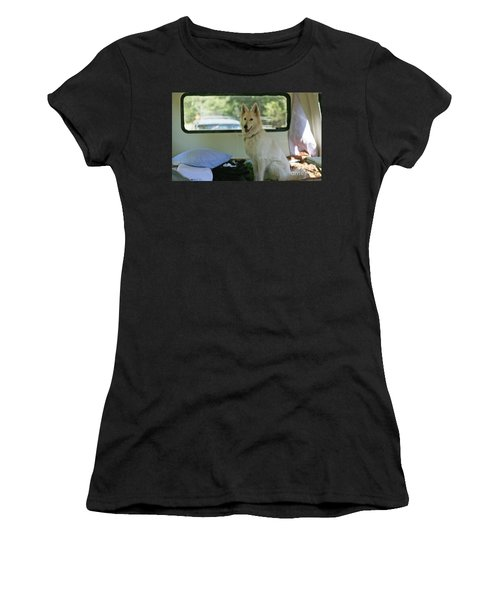 Jane Riding In The Bus Camping At Cape Lookout Women's T-Shirt (Athletic Fit)